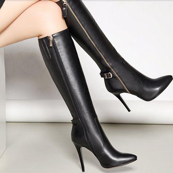 Outono Inverno das Mulheres Sapatos Botas de Luxo Preto Coxa Botas Senhora Sapatos de Salto Alto Vestido de Festa de Moda Meninas Sexy Sapato Dedo Apontado