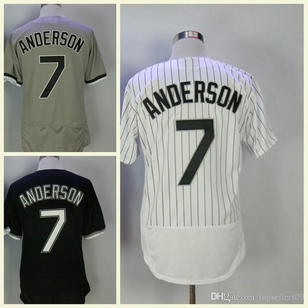 Maillot Homme Baseball Jersey 7 Tim Anderson Stripe Blanc Noir Gris Taille M-XXXL Homme