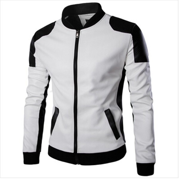 Wholesale- 2017 New Design Men's Jacket Winter&Autumn PU Leather Black&White Fashion Slim Jacket For Man Drop Shipping PY666