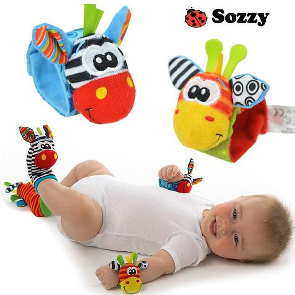 Sozzy زيبرا بيبي بيبي الرضع المعصم راتل والجوارب جرس القدم المكتشفون مجموعة التعليمية هدية لعبة لينة الوليد للأطفال
