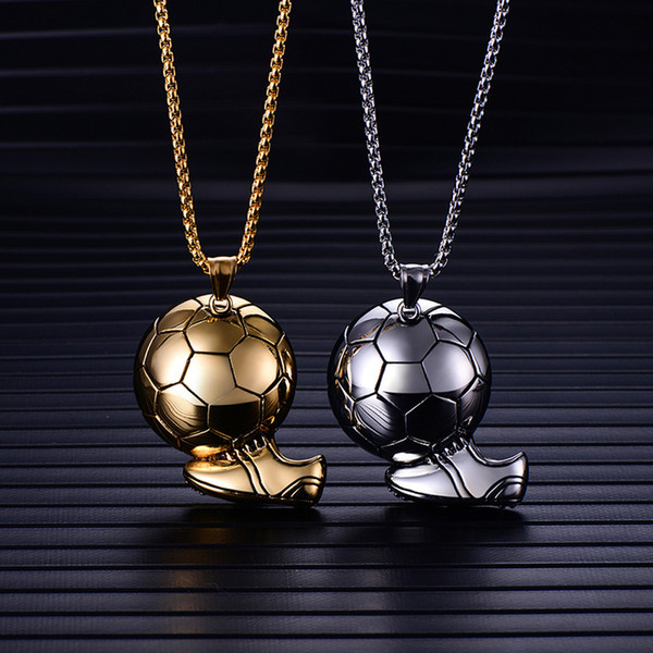 Beichong Charm Sporty Football and Shoes Stainless Steel Pendant Necklace Titanium Steel Street Punk Necklace For Men Gifts