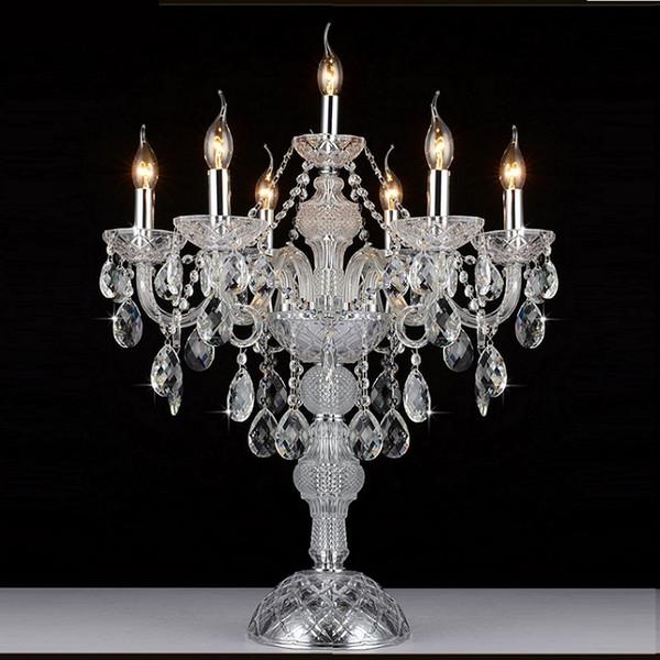 Moda de lujo 5 luces lámpara de mesa de cristal dormitorio lámpara cognic color E14 vela lámpara de cristal boda decoración del hogar luz de la mesa