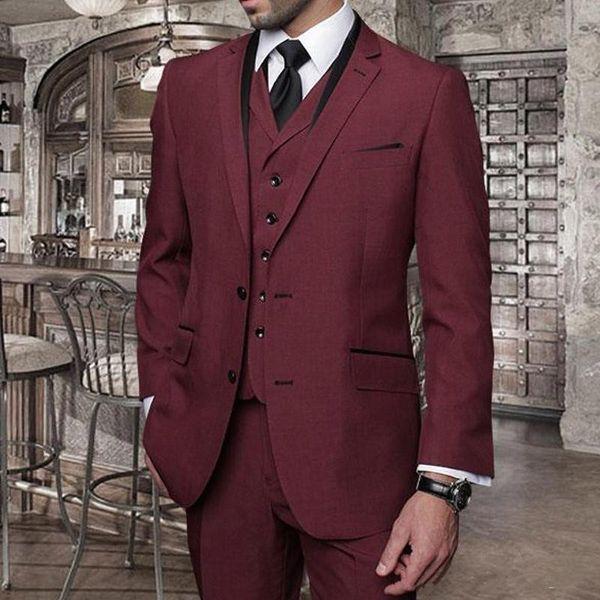 New Design Burgundy Business Men Suits Cheap Three Piece Groomsmen Tuxedos Notched Lapel Custom Made Wedding Suits (Jacket+Pants+Vest)