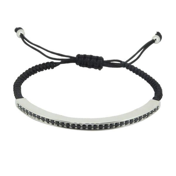 Style moderne À La Mode Marque Hommes Bracelet Micro Pave CZ Noir Gun Long Tubes Tressé Macramé Charme Bracelets Bracelets Bijoux Cadeau