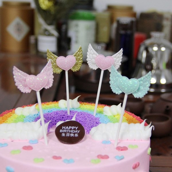 4 Colors Glitter Angel Wing Cupcake Toppers Wedding Decoration Centerpieces Kitchen Accessories Home Decor Party Supplies