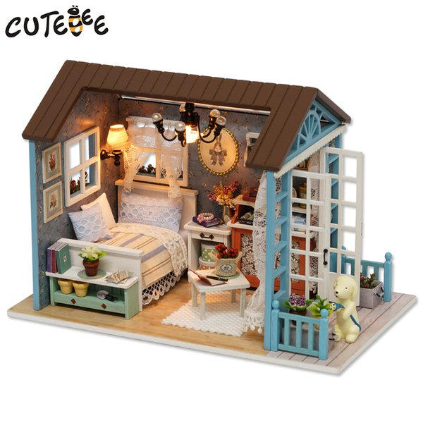 CUTEBEE Doll House Miniature DIY Dollhouse With Furnitures Wooden House Toys For Children Birthday Gift