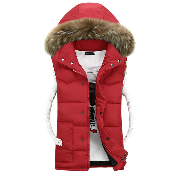 2018 Yeni Rahat Kürk Yaka Kapşonlu Ayrılabilir Kış Erkek Yelek Yüksek Kaliteli Kolsuz Ceketler Sıcak Kalınlaşmak Yelek