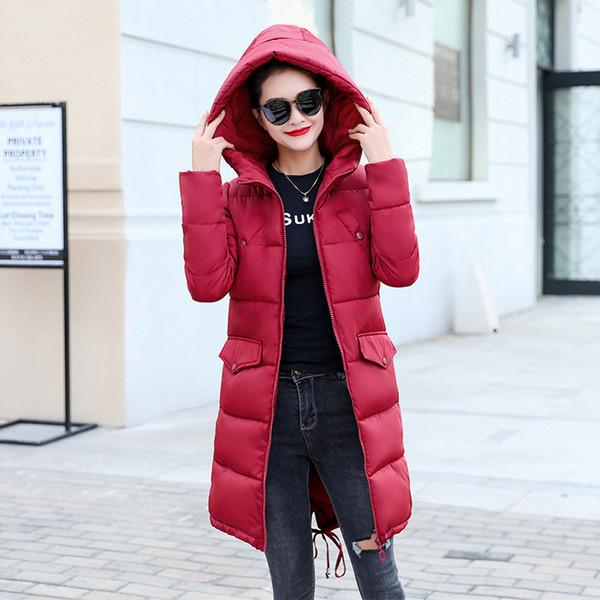 2018 New Women Winter Basic Jacket Tops Cotton Padded Jacket Long Slim Hooded Female Coat Womens Jackets Casaco Feminino Inveno