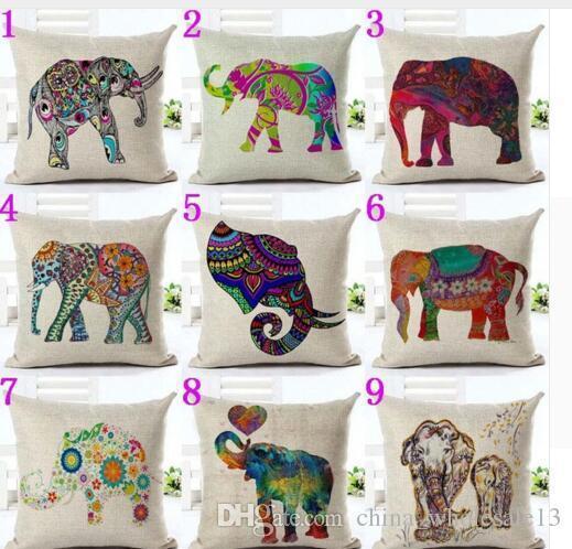 Vintage Elephant Pillow Cover Cotton Linen Sofa Waist Cushion Case Home Decor BF