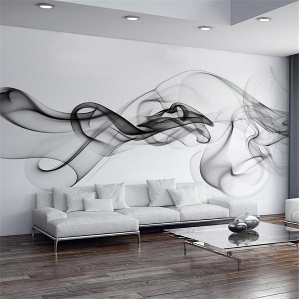 Acheter Papier Peint Personnalise Moderne 3d Mur Papier Peint Papier Peint Noir Blanc Fumee Art Design Chambre Bureau Bureau Salon Papier Peint De