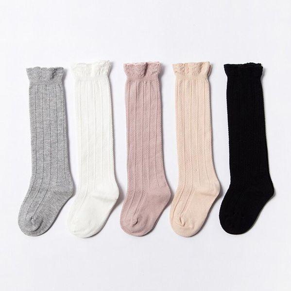 Baby Socks Kids Knee High Socks Tube Ruffled Sock Girls Winter Warm Brand Cotton Pure Color Stockings Fashion Designer Clothes YL538