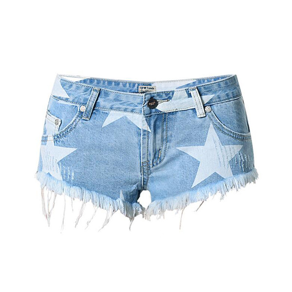 New Ripped Jeans Shorts for Women Summer Casual Star Printed Denim Shorts Vintage Hot Hole Denim Tassel Design