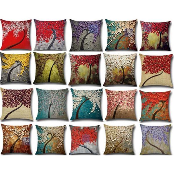 Sıcak 45x45 CM Minder Kapak Vintage Çiçek Yastık Kılıfı Duvar Sarı Kırmızı Ağacı Wintersweet Kiraz Çiçeği Ev Dekoratif Atmak Yastık Örtüsü