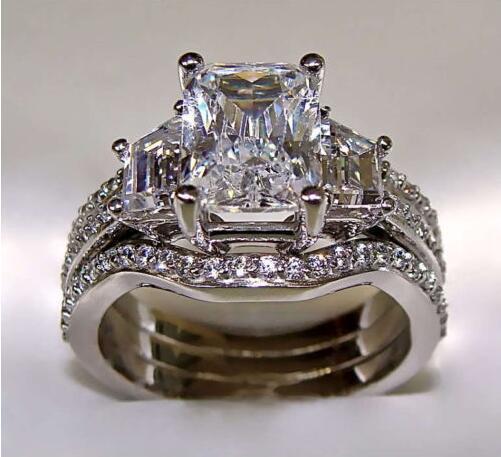 best selling SZ5-11 Free shipping Fashion jewelry princess cut 10kt white gold filled GF white topaz CZ Simulated Diamond Wedding Lady women ring set