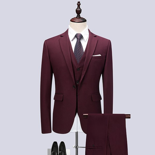 3piece Suit Men Brand New 2018 High Quality Slim Fit Men Formal Wear Dress Suits Wine Red One Button Wedding Suits