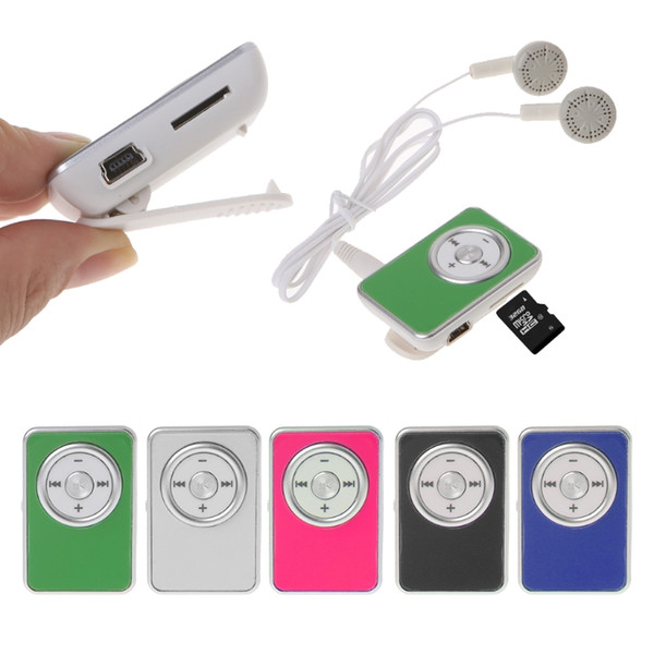 OOTDTY MP3 Mini Clip Music Media MP3 Player Support TF Micro SD Card With Earphone USB Cable