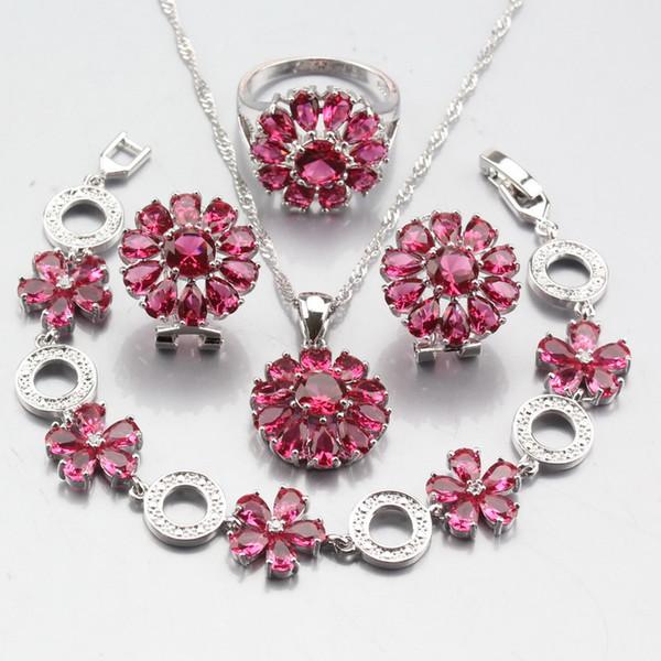 Plata de ley 925 Forma de la flor Rose Red Crystal Dulce Joyería nupcial Establece Pendientes Colgante Collar Pulsera anillo