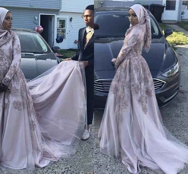 2018 Elegant African Muslim Evening Dress A-Line Long Sleeves Lace With Appliques Popular Style Evening Gowns Prom Dresses
