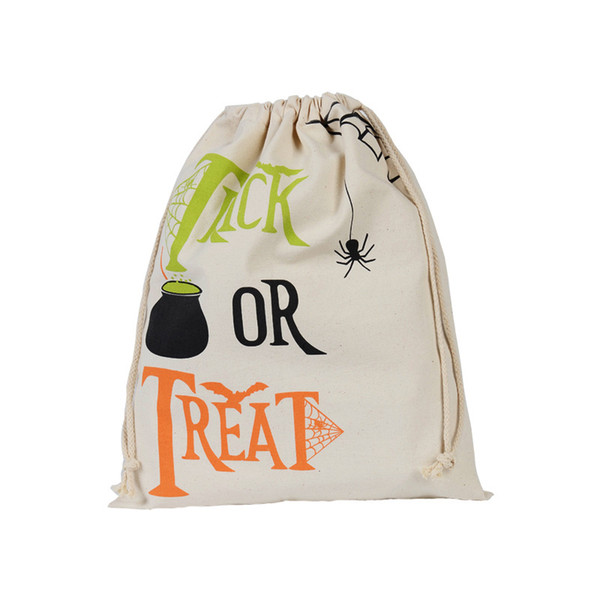 Cotton Canvas Halloween Sack Children favor Candy cloth Gift Bag Pumpkin Spider treat or trick Drawstring Bags Party halloween 50pcs CNY640