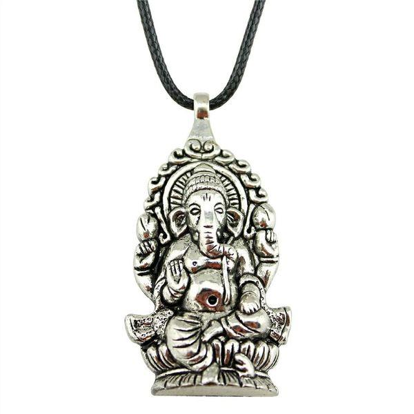 WYSIWYG 5 Pieces Leather Chain Necklaces Pendants Choker Collar Hand Made Necklace Men Ganesha Buddha Elephant Pendants 62x32mm N6-B11358