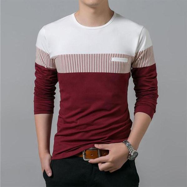 T-Shirt Men 2018 New Autumn Long Sleeve O-Neck T Shirt Men hot Clothing Fashion Patchwork Cotton Tee Tops 5XL