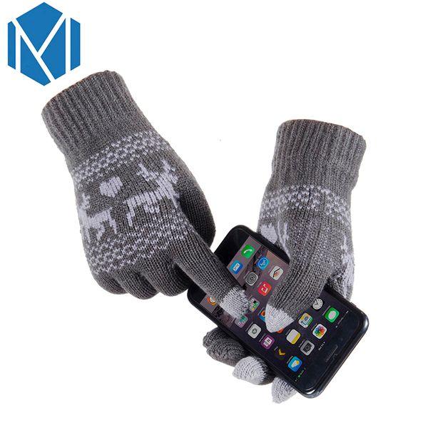 Miya Mona Unisex Girls Boy Warm Winter Thick Screen Sense Lanyard Glove Wool Knitted Deer Pattern Covered Fingers Mittens Gloves D18110806