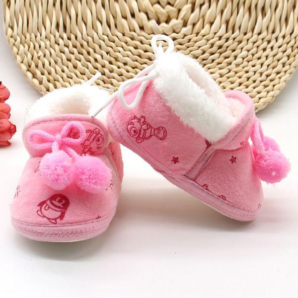 Bebek Kız Ayakkabı Kış Yenidoğan Bebek Akın Sıcak Yumuşak Çizmeler Ön yürüteç Ayakkabı Bebek Erkek Toddler Soled İlk Walker Bootie