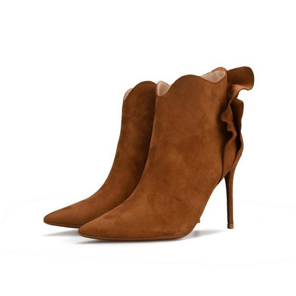 2018 Winter Floral Bow-tie Women Flounces Ankle Boots 8CM/10CM Thin High Heel Pointed Toe Women Botas Plus Size32-42 Black Grey