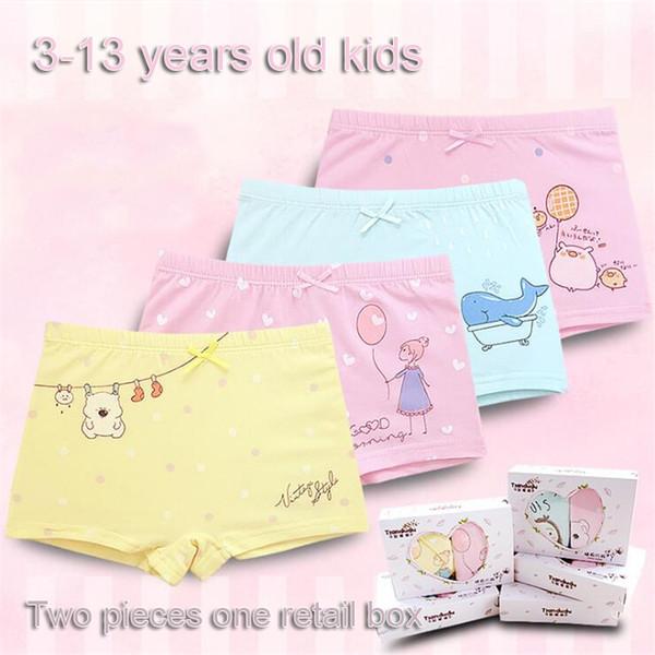 Calzoncillos de algodón para niñas 2 piezas / caja 26 Diseños de alta calidad 3-13 años Niños bragas de algodón para niñas Calzoncillos de dibujos animados Calzoncillos LA613