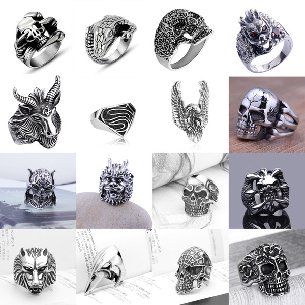 best selling Fashion Men's Stainless Steel Silver Cool Gothic Punk Biker Finger Rings Jewelry - Free Shipping + Free Gift
