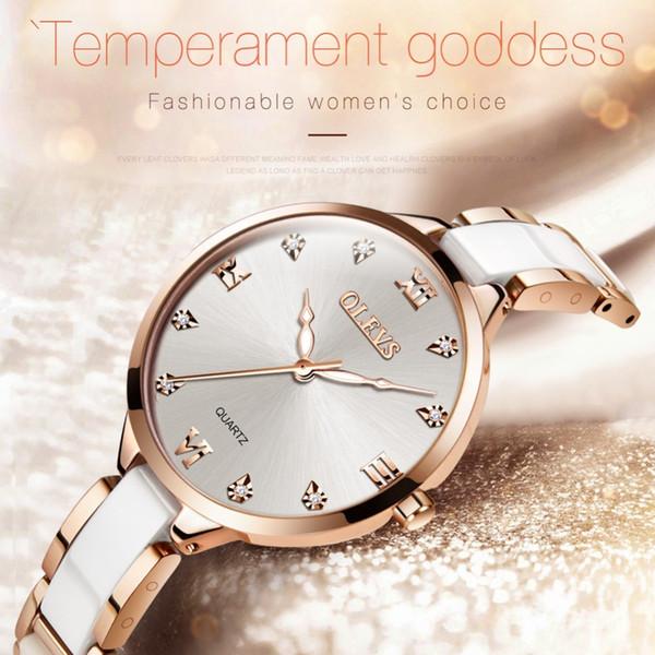 OLEVS Ceramic Watch Luxury Women Watches Quartz Roman Surface Dial Ladies Watch Waterproof Rose Gold Wrist Watch Stainless Steel Y18102310