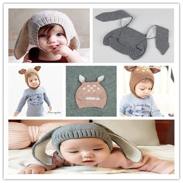 Baby Kids Creative Animal Modeling Wool Cap Cute Infant  Long Ear Hat Fawn Earmuffs Knit Hat Christmas Gift Photo Props