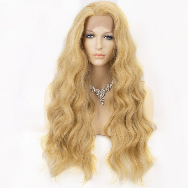Peluca rubia para mujer Peluca delantera de encaje sintético Larga y ondulada Mezclada 613 Pelucas para mujer Parte libre Línea natural Línea de cabello 22 pulgadas Pelo natural