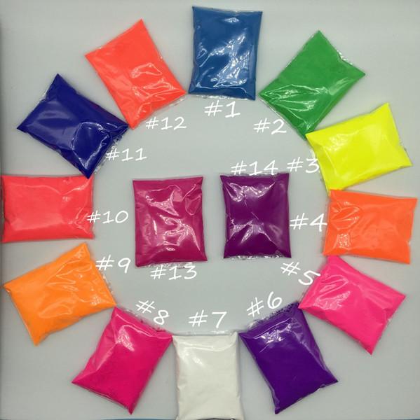 Mélangé 10 couleurs Poudre fluorescente, ne brille pas dans la poudre de pigment de phosphore de poudre noire pour le vernis à onglesPaintSoap 100grams