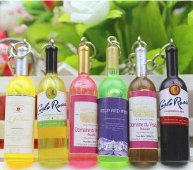 Small wine bottle wine cell phone pendant key chain key ring beer bottle creative Korea jewelry gifts gifts 30 pcs