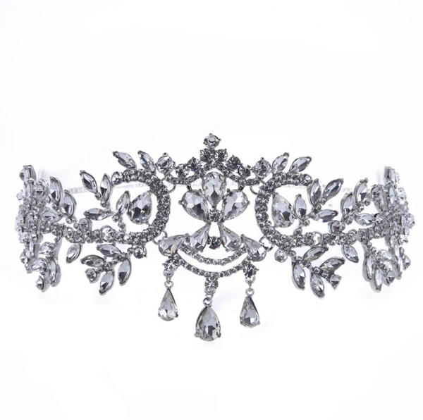 Gorgeous Pliability Silver Big Wedding Diamante Pageant Tiaras Hairband Crystal Bridal Crowns For Brides Headpiece Silver & Gold HTJ004