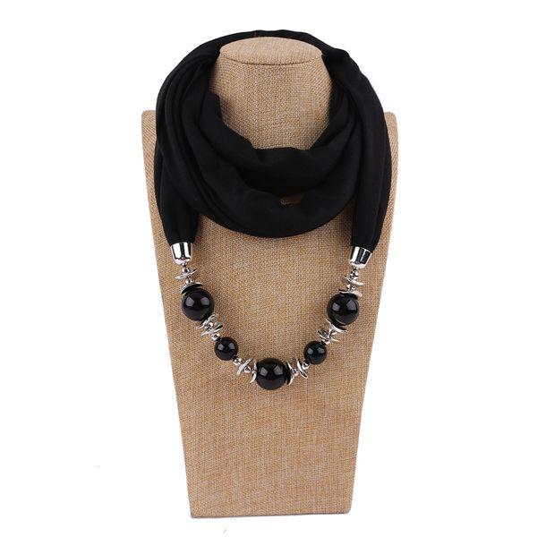Wholesale- Fashion Scarf Necklace Pendant women Big beads pendant Scarf Jewelry wrap soft bohemian jewelry gift