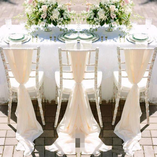 Romantic Chiffon Wedding Chair Sashes Handmade Celebration Birthday Party Event Chair Covers Decor Wedding Chair Sashes Bows 150*50 CM