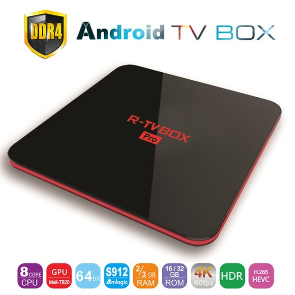3GB DDR4 64GB TV Box Android 7.1 Amlogic S912 Octa Core Smart Mini PC 2.4G/5G Dual Wifi Bluetooth 4K Media Player R-TV Box Pro Set Top Box