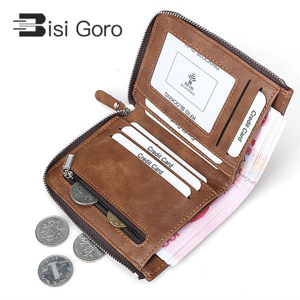 BISI GORO Short Wallet Men Genuine Leather Wallet Male Top Men Thin Mini for Cards Purse for Coins Zipper Small
