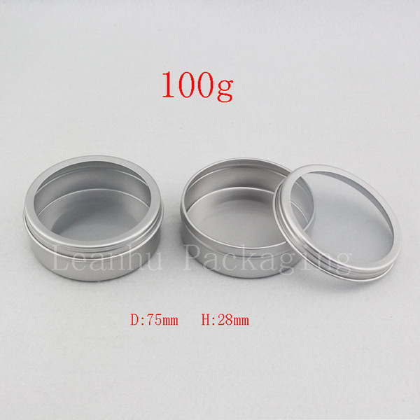 100g empty silvler cosmetics cream container window cap ,metal aluminum jar balm bottle tin pot can,gift jars for tea candle