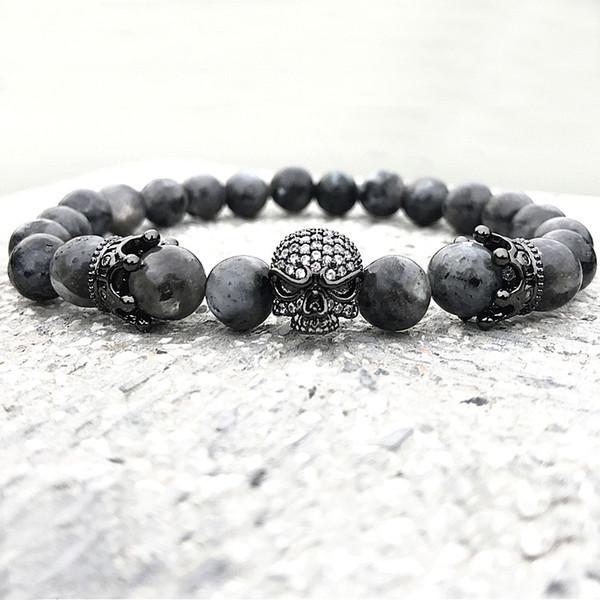 Hommes CZ Crâne Charme Bracelets Inde Labradorite 8mm Pierre Naturelle Perles de Lumière Européenne Bouddha Bracelet Pour Hommes À La Main Bracelets