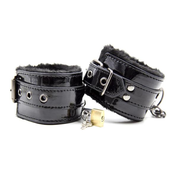 Female Slave Handcuffs Leg Ankle Cuffs BDSM Bondage Kinky Play Restraints Gear for Women Black Furry GN252420052