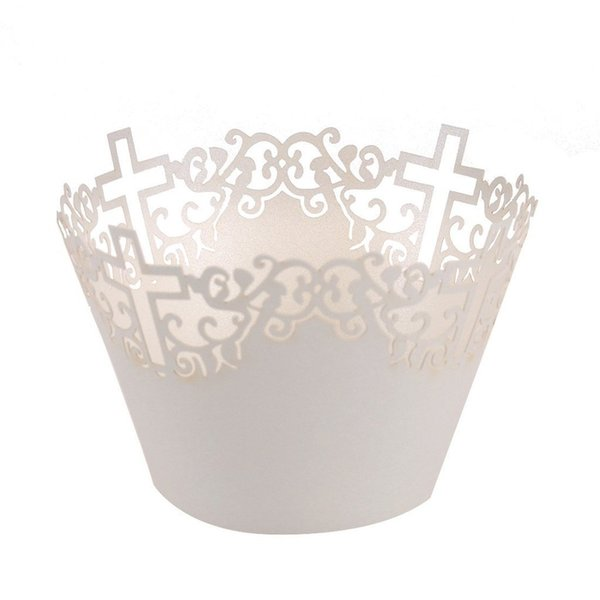 Wholesale-50pcs Filigree Vine Cross Cupcake Wrappers Clouds Muffin Paper Cup Cake Wedding Gift Box Birthday Party Favor Baby Shower Decor