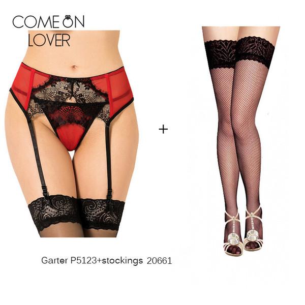 Plus size red black stockings suspender belt women sexy garter panty with stockings hot sale stockinarter belt set LP5123