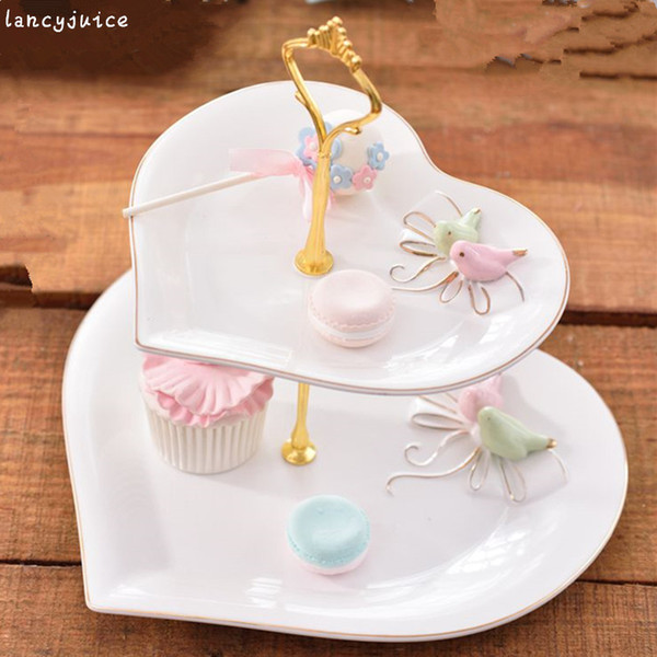 Double Layer Cake Plate British Pastoral Bone China Dishes Fruit Dish Pastry Porcelain Tray Tableware Decor