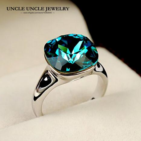 best selling White Gold Color Top Quality Austrian Blue Zirconia Crystal Luxury Square Woman Finger Ring Christmas Gifts Wholesale