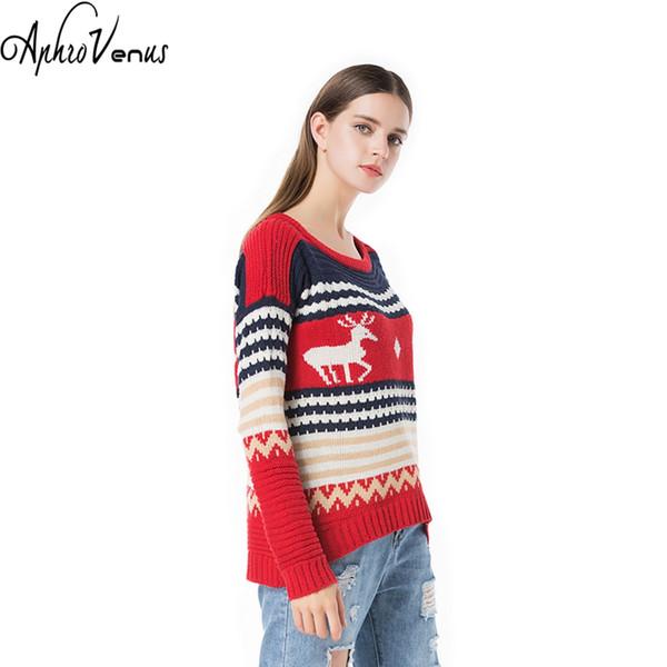 Womens Christmas Sweaters.2019 Winter Women Christmas Sweater Deer Print Pullover Long Sleeve Irrgularhem Warm Lady Pullover Autumn Sweater Women Jumper Pochos From Art03