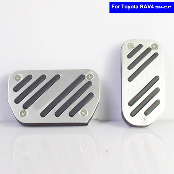 AT Car Aluminium Alloy Petrol Clutch Fuel Brake Braking Pad Foot Pedal Rest Plate for Toyota Rav4 2014 2015 2016 2017Auto Pedals