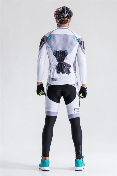 long sleeve 2019 Cycling jersey sets Spring Autumn Winter Fleece Men Power bicycle bike jersey bib long pants gel pad